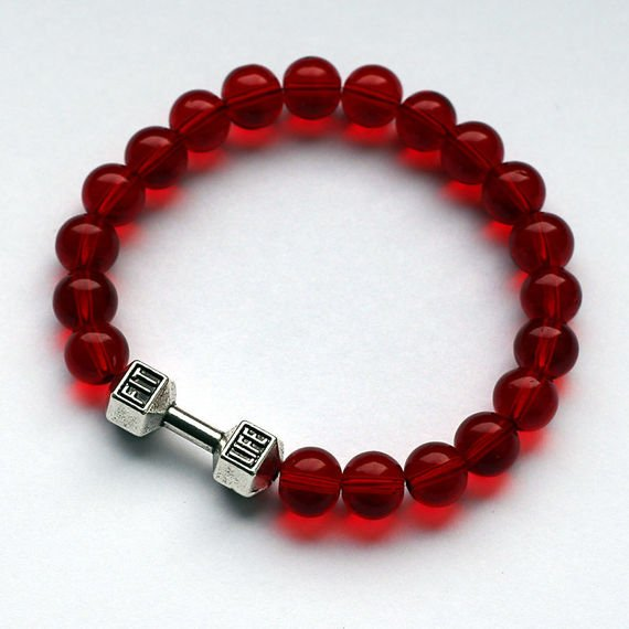 Fit Kolekcja - FIT LIFE Beaded Dumbbell Bracelet - Red
