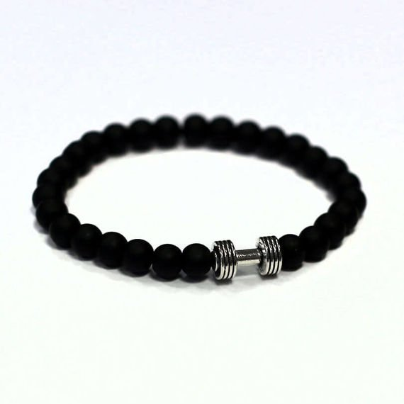 Fit Kolekcja - Mini DUMBBELL Beaded Bracelet - Matte Onyx