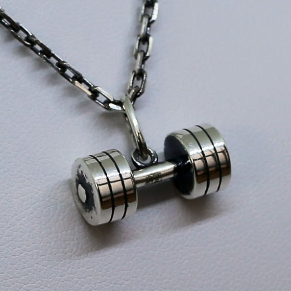 Fit Kolekcja - Oxidised Sterling Silver Pendant DUMBBELL 004